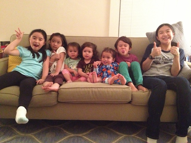 Cousins love. L-R: Jada (7), Jala (4), Amelia (1), Winter (1), Hudson (1), Hoops (6), and Jaya (12).