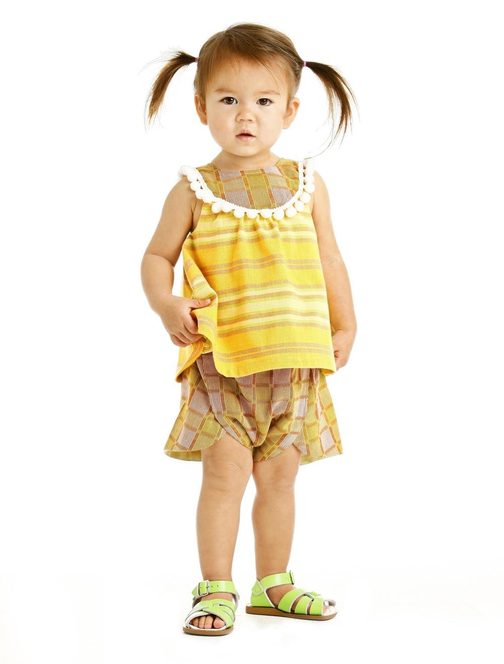 Amelia in the pompom bib tank and foldover shorts