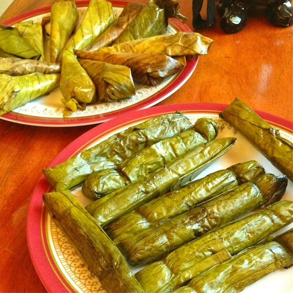 Welcome treats of suman (sweet, sticky rice).