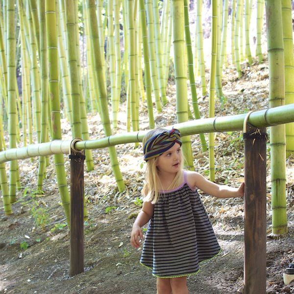 Hey, the neon green trim on the dress matches the bamboo! Who thinks of these things? :)   Photo credit: Ricci Sylla.