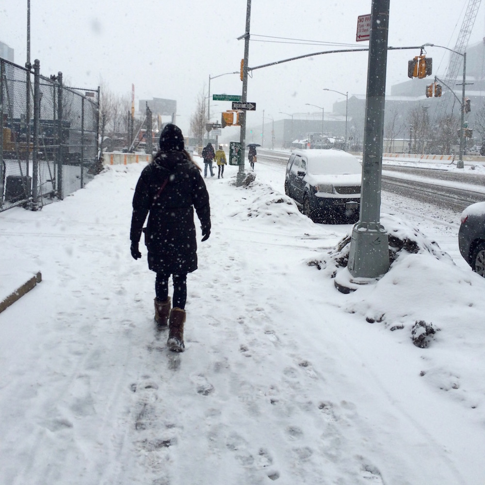 walking to the trade shows in a blizzard