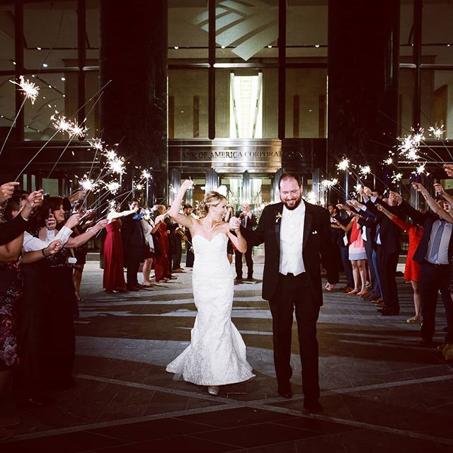 Let your light shine Angela & Ben! Shining a light on our couples' unique styles is what makes us tick! @vandegriftangela @benjarrett84  Photographer @loveshutter Venue @eventsatfoundershall Design + Planning @bestdayeverstudios Band @flashbackthepartyband Hair Styling @cravenhairrr Cake @stlcake Videographer @reelweddings Florals @nectarfloralboutique Rehearsal Dinner @fahrenheitclt Rentals @partyreflections