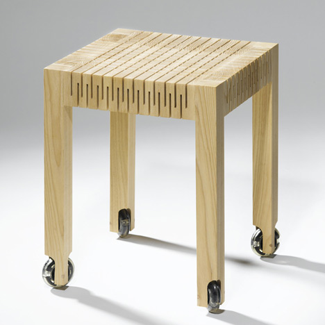 brilliant 'spring wood' project by dutch graduate designer Carolien Laro - slits in the wooden stool give a little when sat on…    see more  here