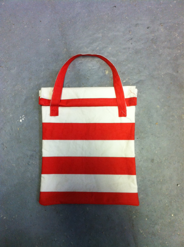 Just made a roll-top canvas tote bag…for my friends birthday