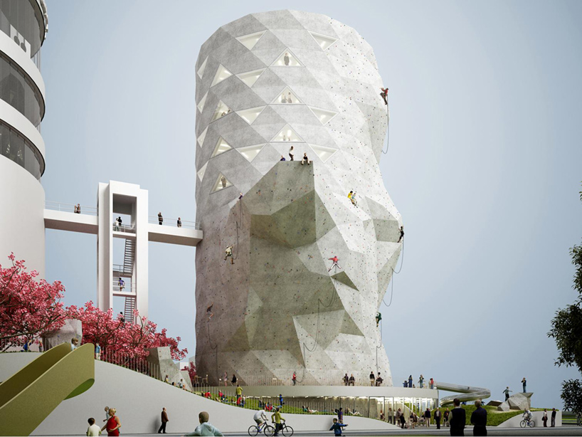 great rock climbing skin on an office building by NL architects