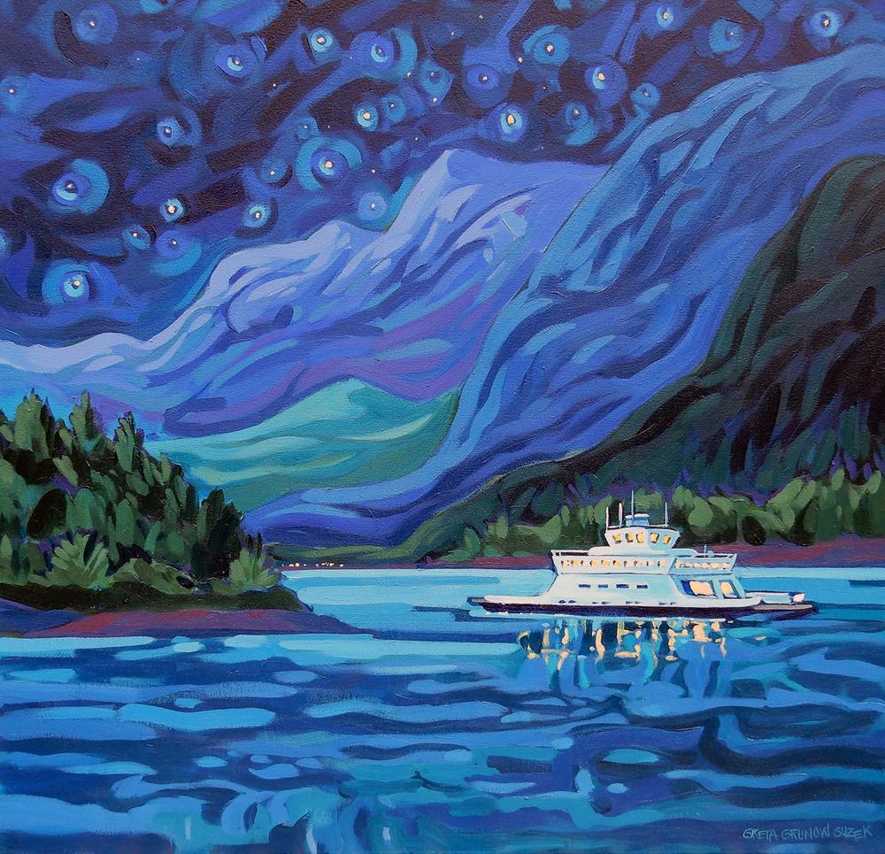 SHIP IN THE NIGHT (30x30)