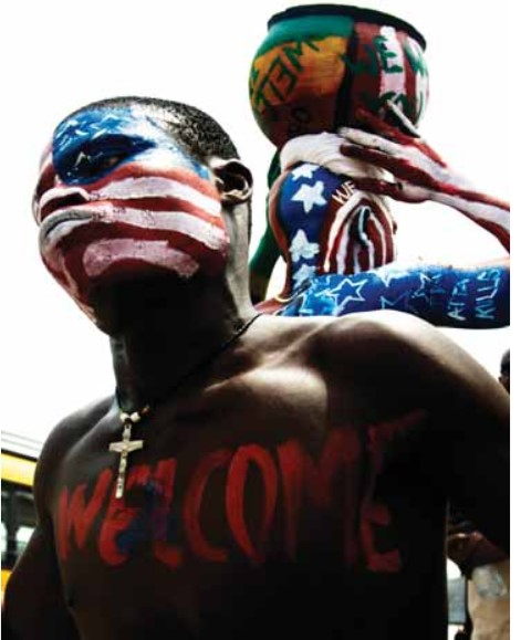 Reminiscent of election day in the United States, people took to the streets of Accra in celebration of Obama's visit.