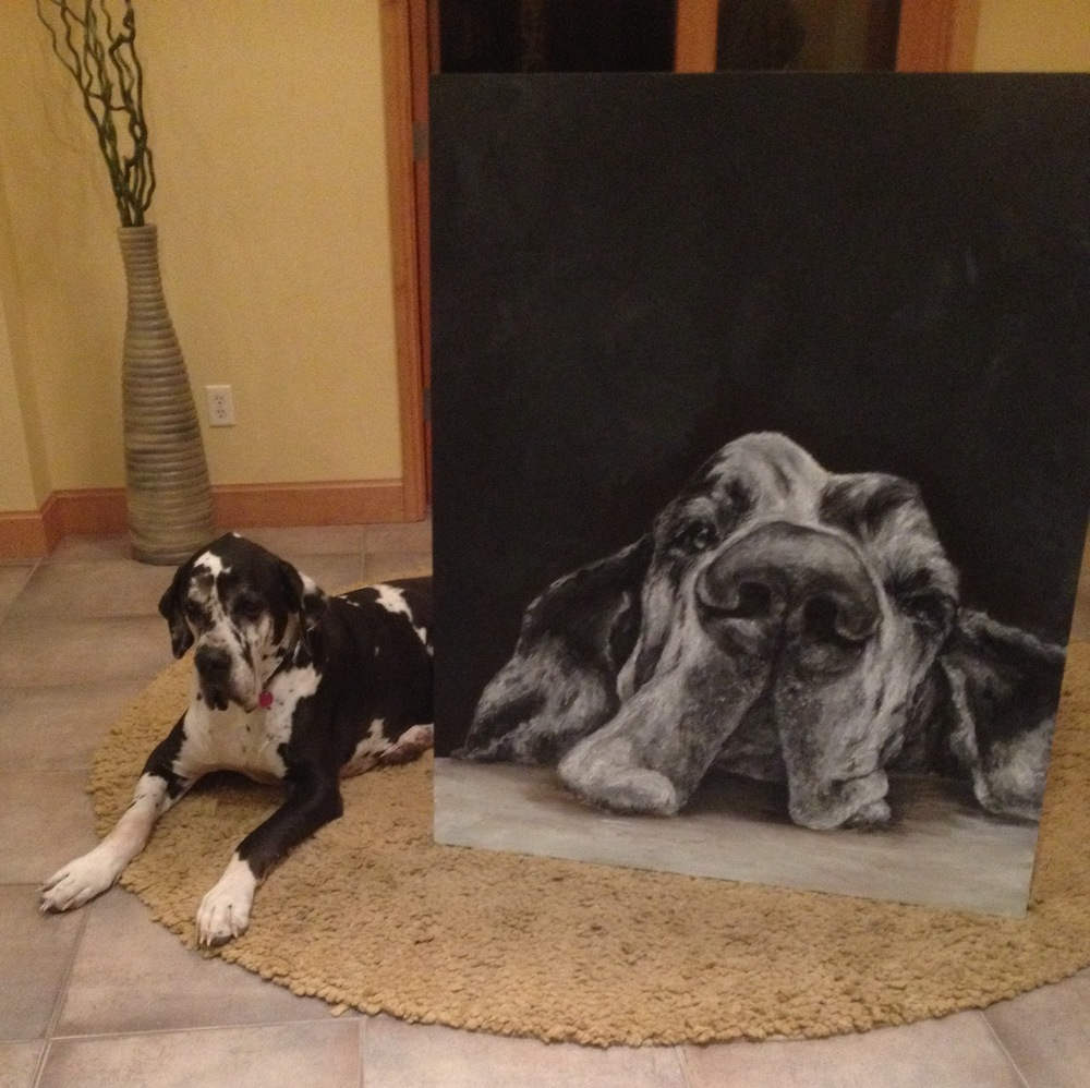 samantha sherry great dane with painting