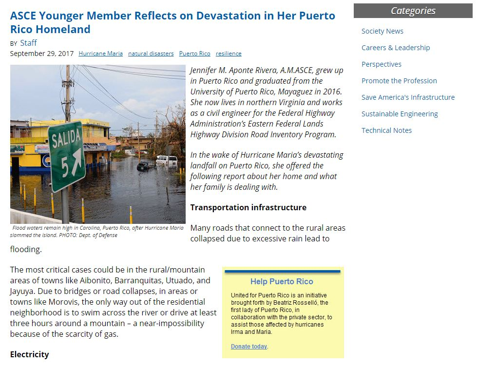 Feature articles... - We needed a first-hand account from someone connected to ASCE with connections to Puerto Rico - I found Jennifer through an intensive web search. ( click on photos for link )