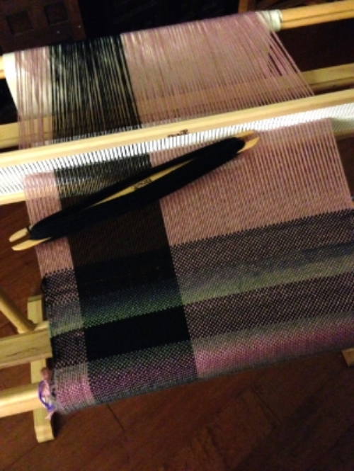 32 Inch Kromski Rigid Heddle Loom with my first project.