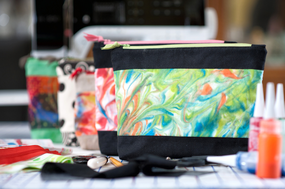 "Zip Pouch marbled with Tsukineko Inks - ASG ""Burst of Color"" Spring Event project, pattern provided by Fanciful Threads"
