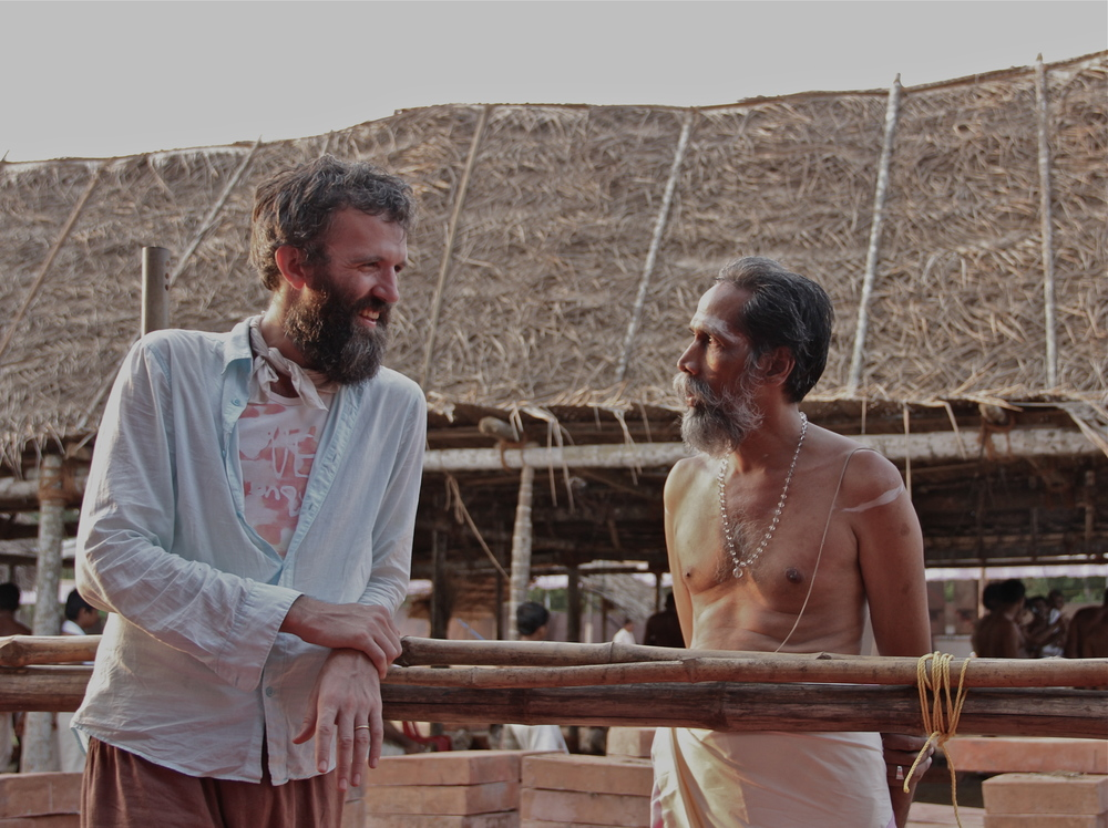 With Tottam Krishnan Nambudiri on the sidelines of the Kodakara Agnicayana, Kerala, April 2012.