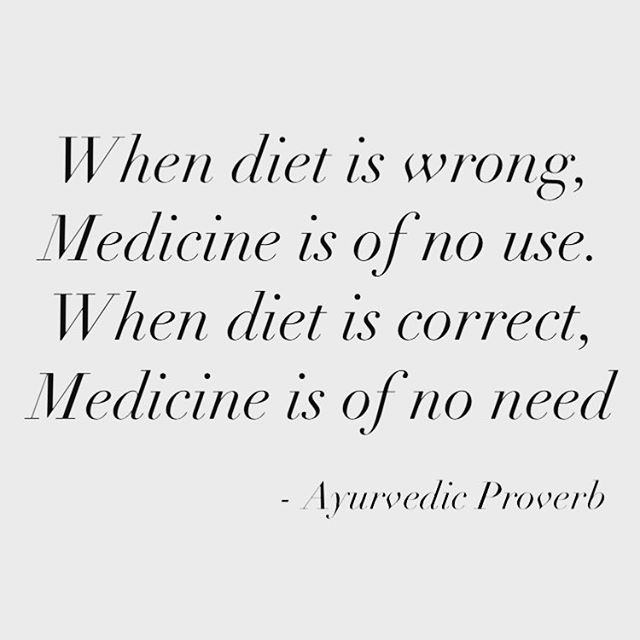 """The concept of """"right diet"""" has become so subjective and fraught with conflicting opinion. What I love most about Ayurveda is that it takes into account bio-individuality (the specific needs of each body), while offering a simple approach to diet that just WORKS. No diet-ing, no crazy fads, no eliminating entire food groups. Just personalized, common sense guidelines for how to eat for life. And seriously, since we started practicing an ayurvedic approach to eating and lifestyle in our house 8 years ago, I can count on one hand (mayyyyybe one and a half hands) the number of times we've needed prescription medicine of any kind. It's kind of miraculous! Msg me if you want to learn more about how to customize your diet with Ayurveda! Or just click the link in my bio to find your dosha (Ayurvedic body type) and get a free custom diet and lifestyle guide! #ayurvedaeveryday #foodasmedicine #qotd"""