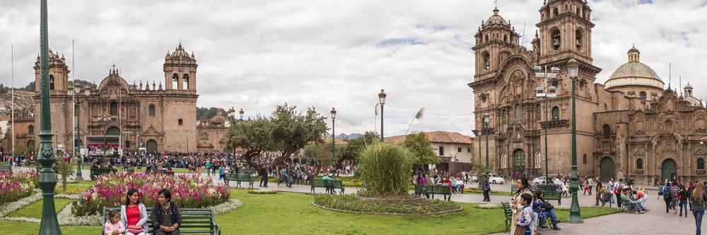"PLAZA DE ARMAS, CUSCO  | Image size: 36""x12""  |  300 dpi"