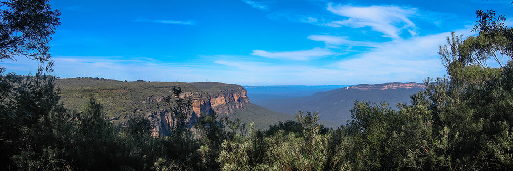 "THE BLUE MOUNTAINS   |   Image size: 36""x12""   