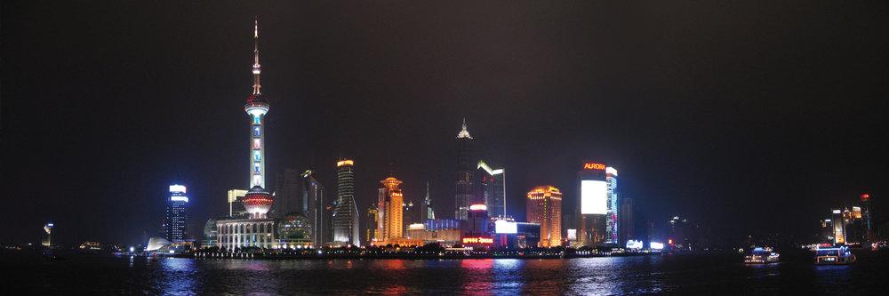 "SHANGHAI AT NIGHT  | Image size: 36""x12""  |  300 dpi"