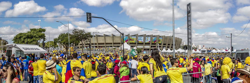 "ESTADIO MINEIRAO, BELO HORIZONTE - COLOMBIA VS GREECE  | Image size: 36""x12""  |  300 dpi"