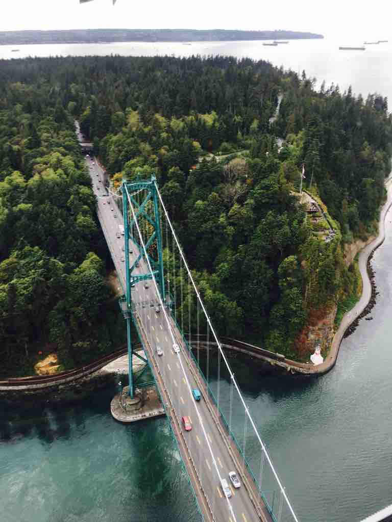 Lion's Gate Bridge from Sea Plane