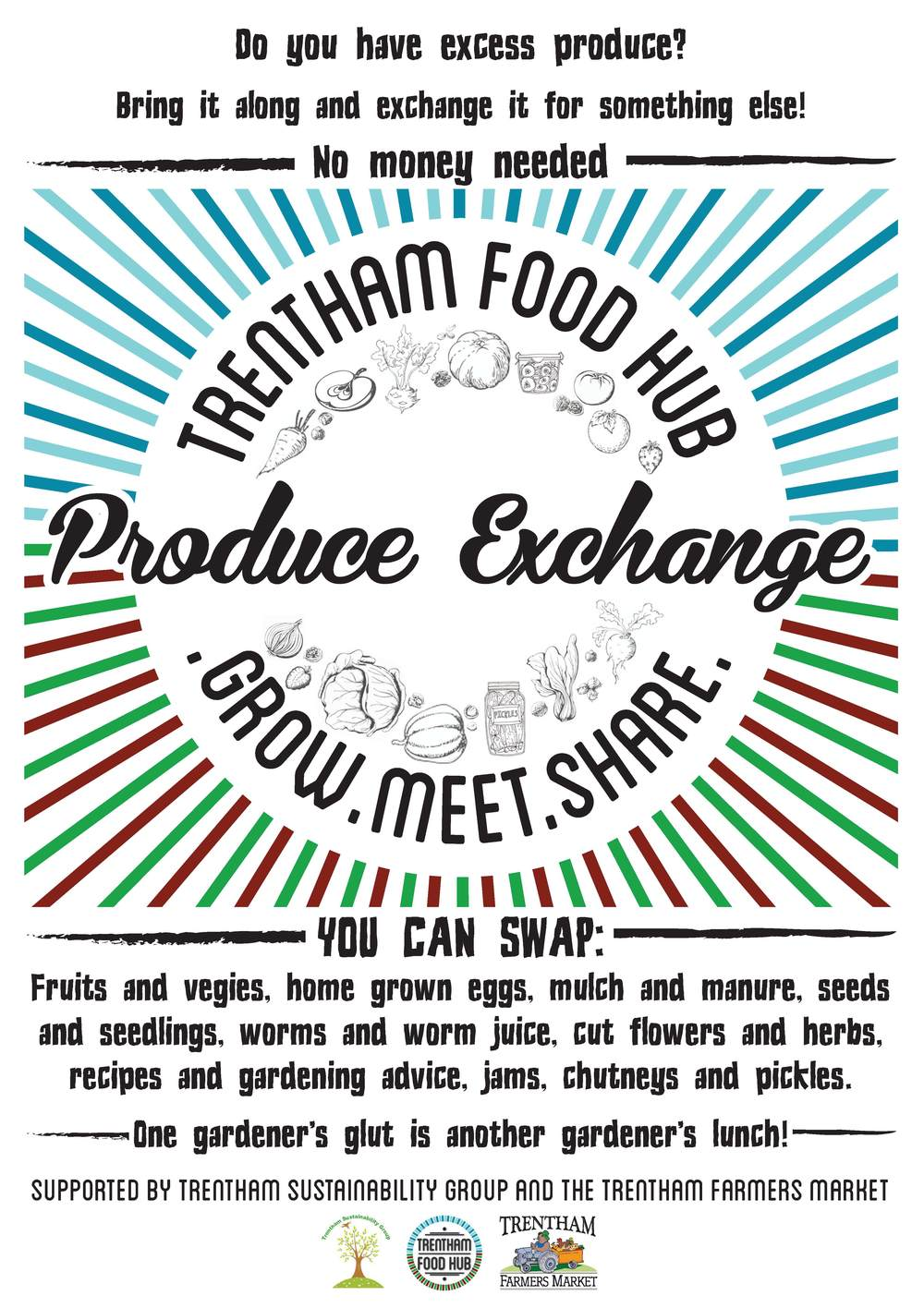 On the third Saturday of every month we host a free produce exchange at the Trentham Farmers Market in the town square (Click on the image above to enlarge).