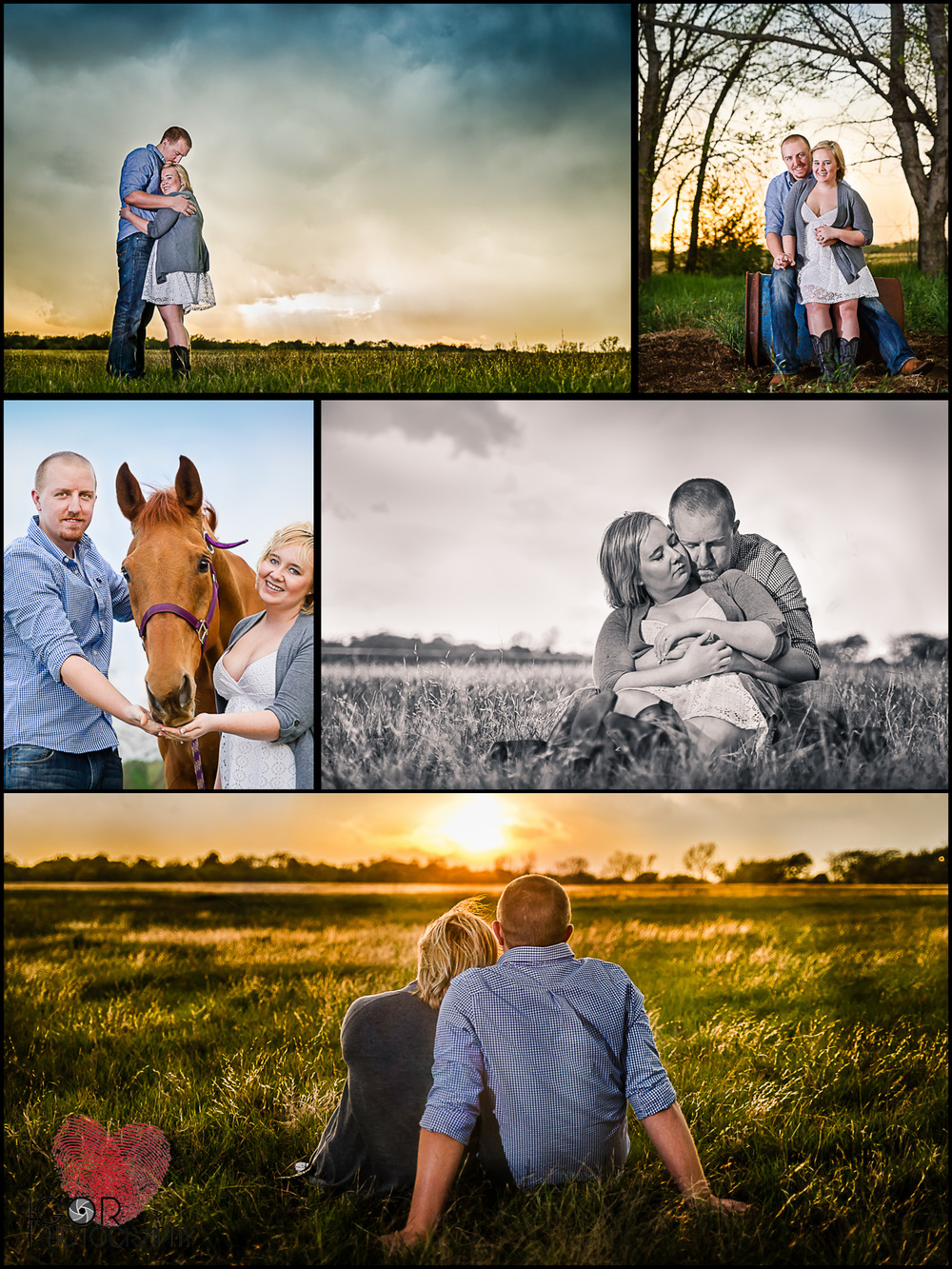 Sunset engagement photography in Burleson, Texas
