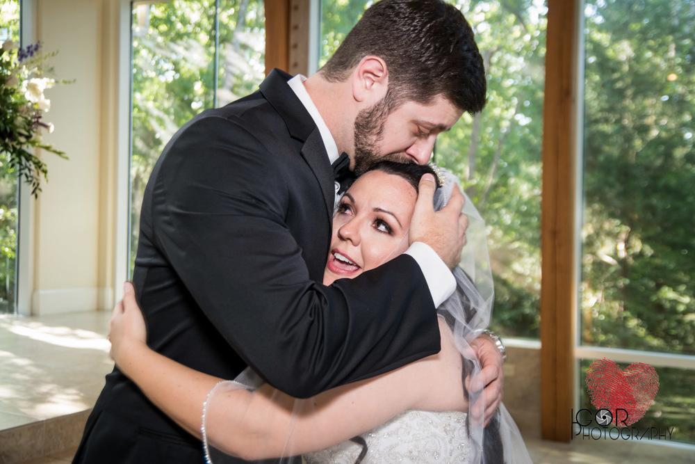 Wedding couple in tears