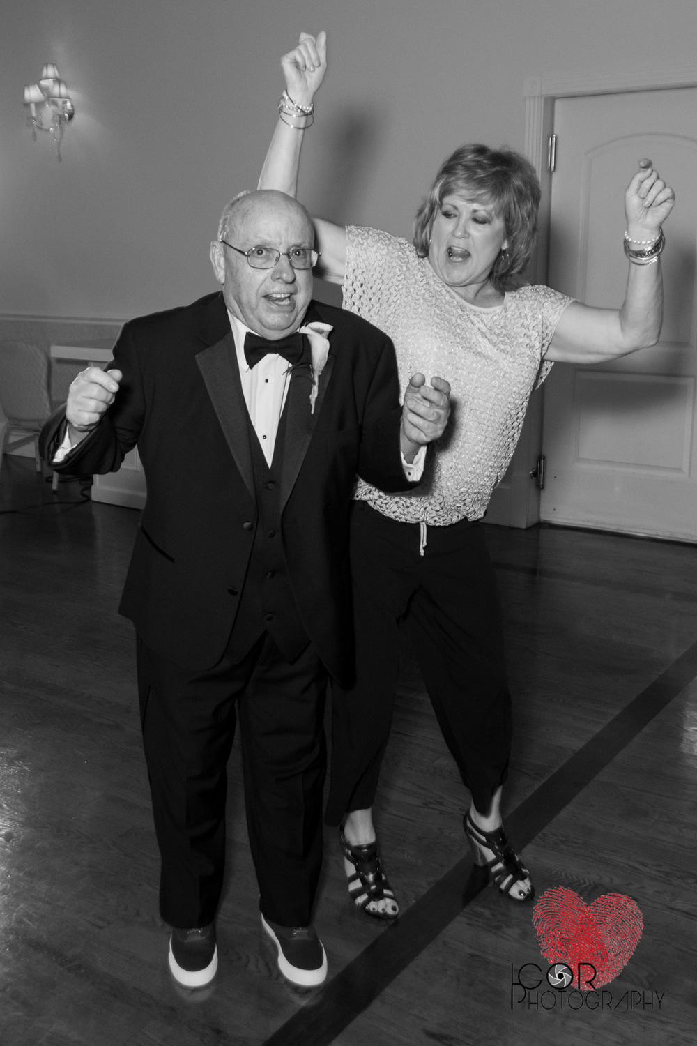 Granpa and Grandma tearing up the dance floor at the wedding reception