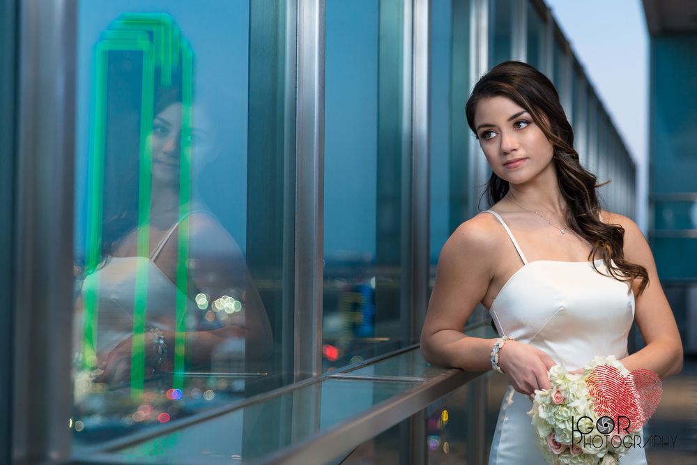 Bride photos at night