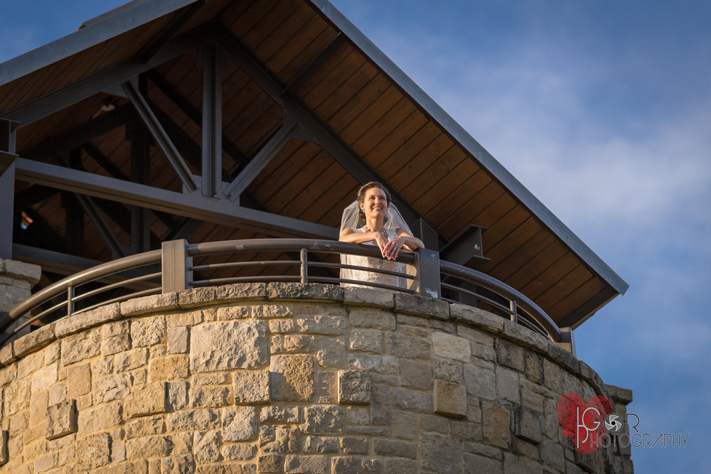 Bride at the look out tower