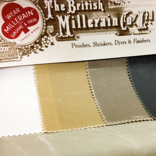 BRITISH MILLERAIN  / UK   Established in 1880, British Millerain is the world's premier manufacturer of waxed cotton. Our range of textiles has been developed through more than a century of refinement and testing, using skills handed down through generations. Today, British Millerain is a major global supplier of performance textiles for commercial and military applications.   www.britishmillerain.com