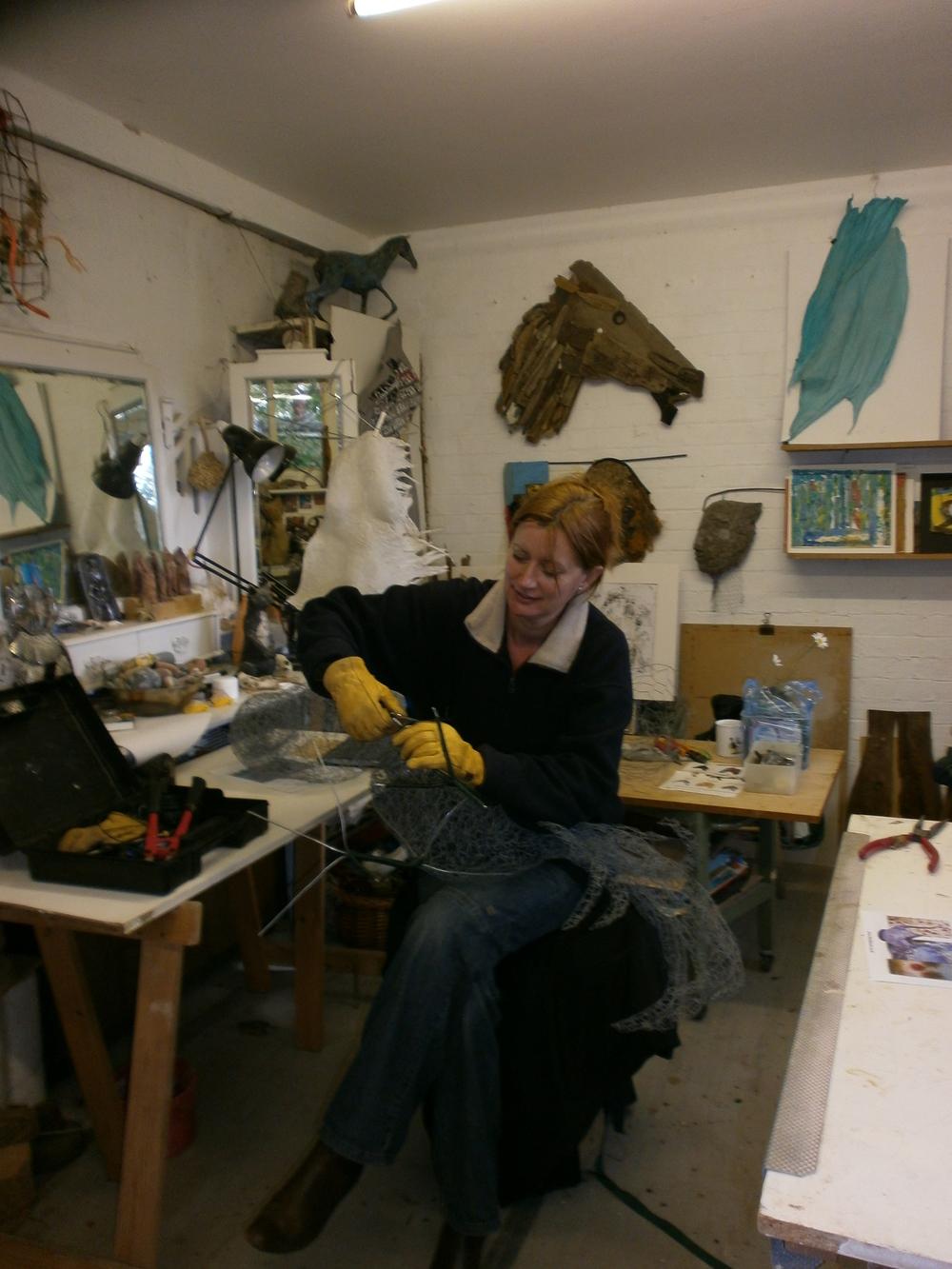 Working on 'Cockerel' in a fellow sculptors studio.
