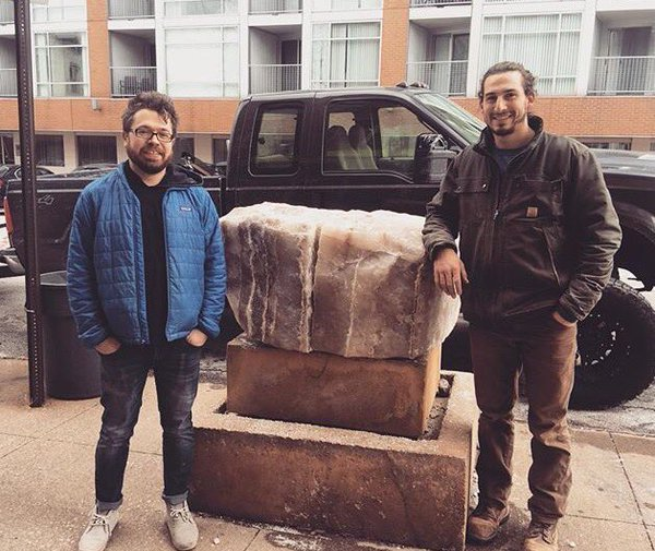 I moved a 300 million year old salt block onto this plinth at SPACES gallery in Cleveland, in essence partially replicating a work completed by Brinsley Tyrrell in 1996. Pictured is Brandon Barski (right) of Great Escapes Landscaping who helped me transport and place the block.