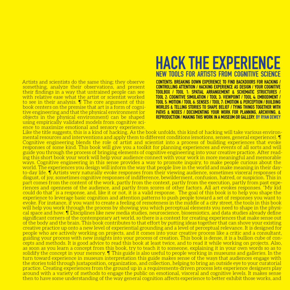 HACK THE EXPERIENCE: TOOLS FOR ARTISTS FROM COGNITIVE SCIENCE, PUNCTUM BOOKS (NYC) (forthcoming) ( link )