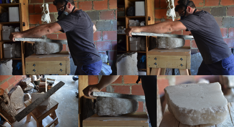 LAND PLANE (2016) - 5 hour performance using slab of granite to plane smooth and polish the rough face of a quarried stone