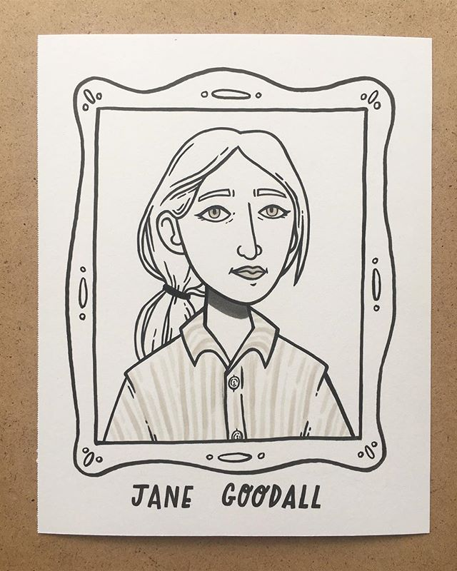 1. Jane Goodall, primatologist & anthropologist. Her support of animals, the environment, and conservation makes her rad. (Starting the project on her birthday felt like a sign to begin with Jane) #the100dayproject #100daysofradladies
