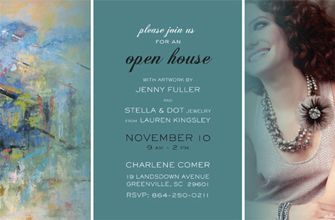 Art and jewelry show stir studios artist jenny fuller and stella dot jewelry rep lauren kingsley will promote their upcoming show in greenville sc with this invitation stopboris Choice Image