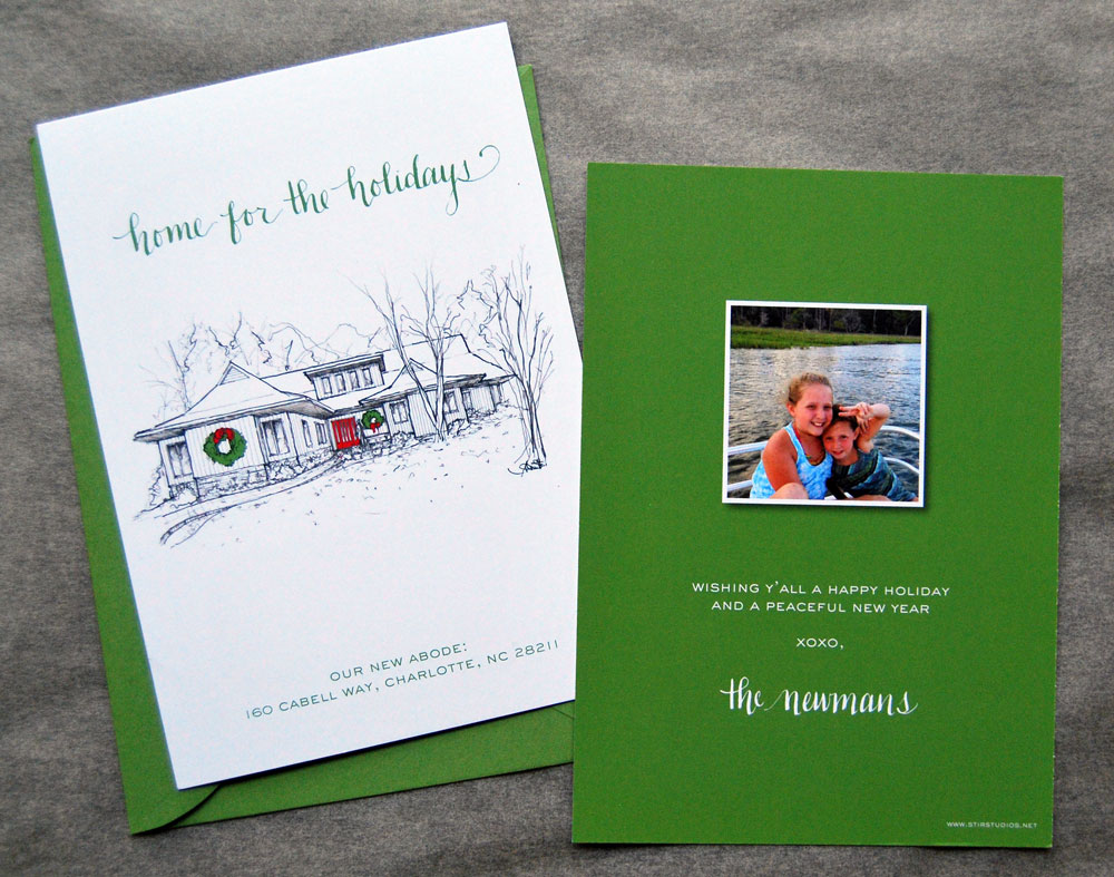 Holiday Card With Custom Home Rendering Stir Studios