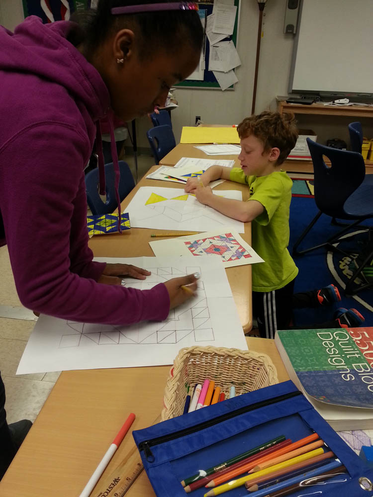 """First the students drafted ideas on 6"""" grids, then transferred their designs to 12"""" paper."""