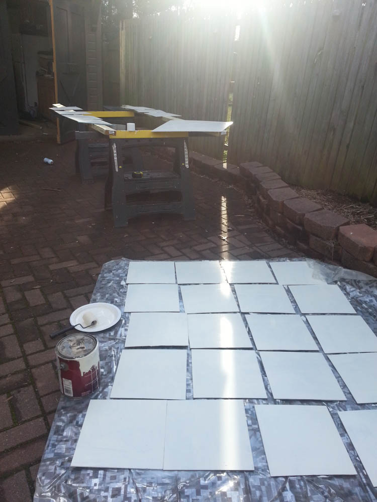"""During a break in our very wintery February, we cut, primed, and painted 12"""" boards."""