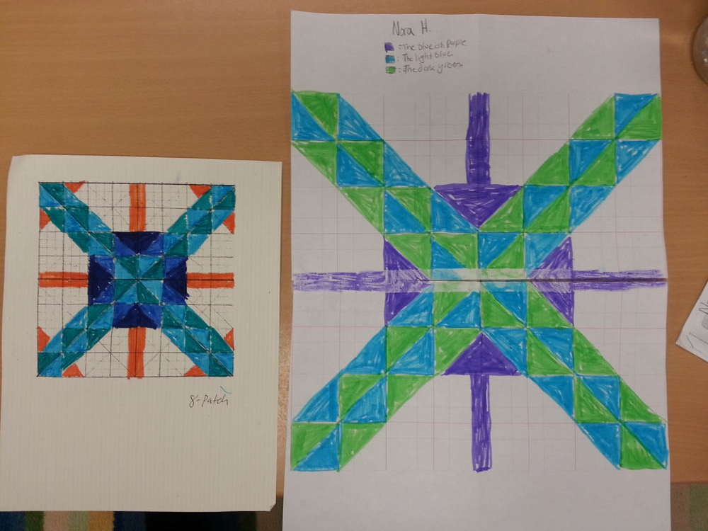 Nora H.'s square as draft 1 and draft 2.