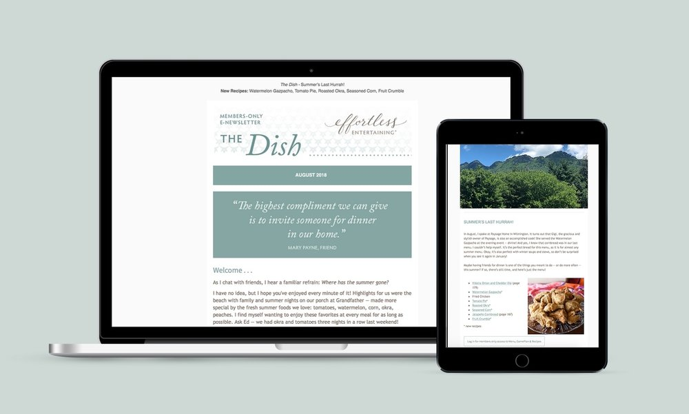 """The Dish"", monthly email newsletter"