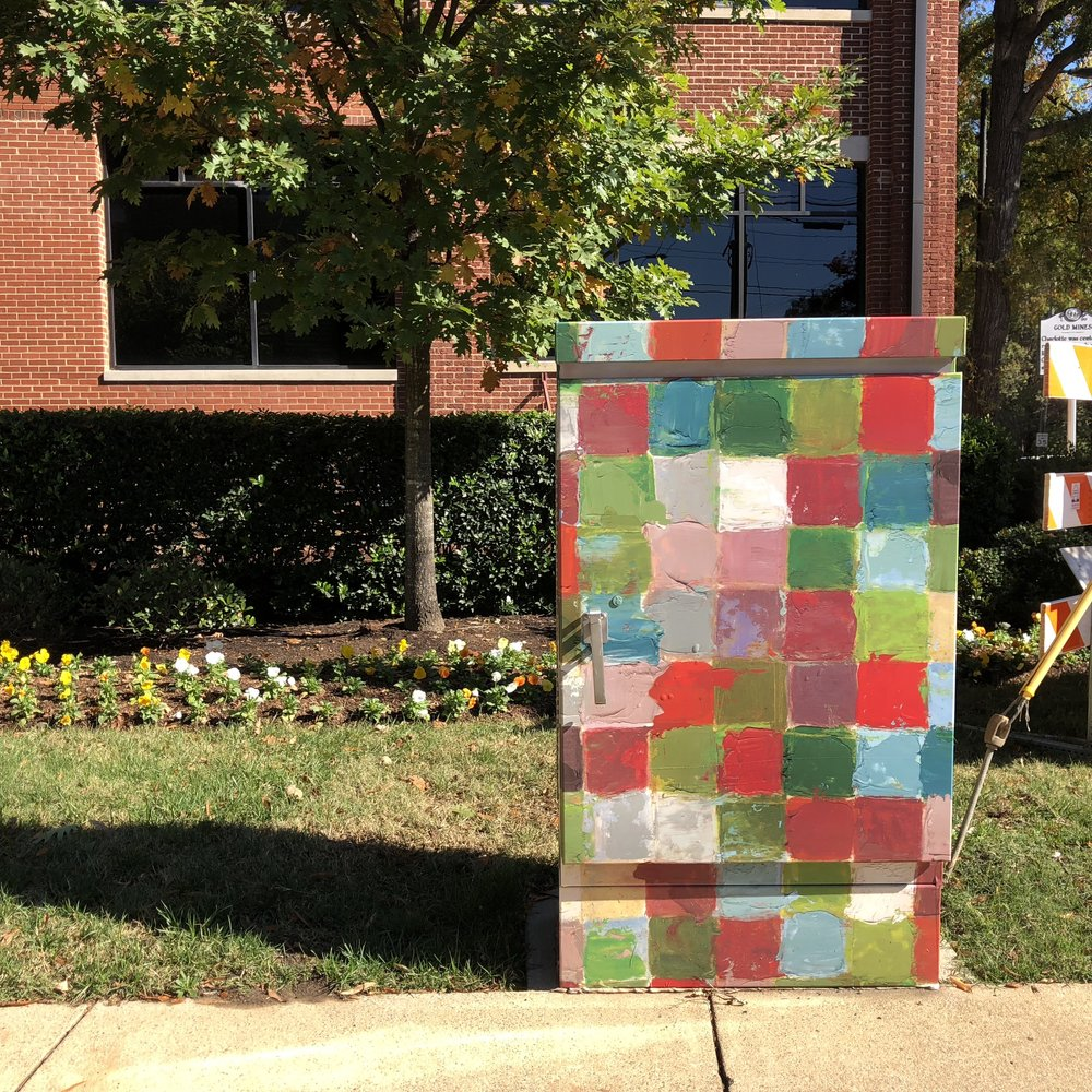 """Lance COlor Study"", installed at Bland/South intersection, in front of historic Lance Factory Building."