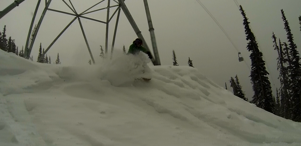 Nick Varey finds a nice stash under the Peak 2 Peak Gondola @ Whistler BC.