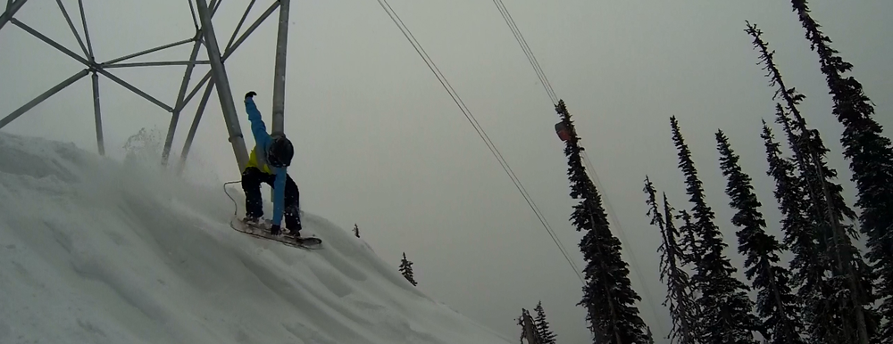 Jesse Davidson early season mute grab under the Peak 2 Peak @ Whistler, BC.