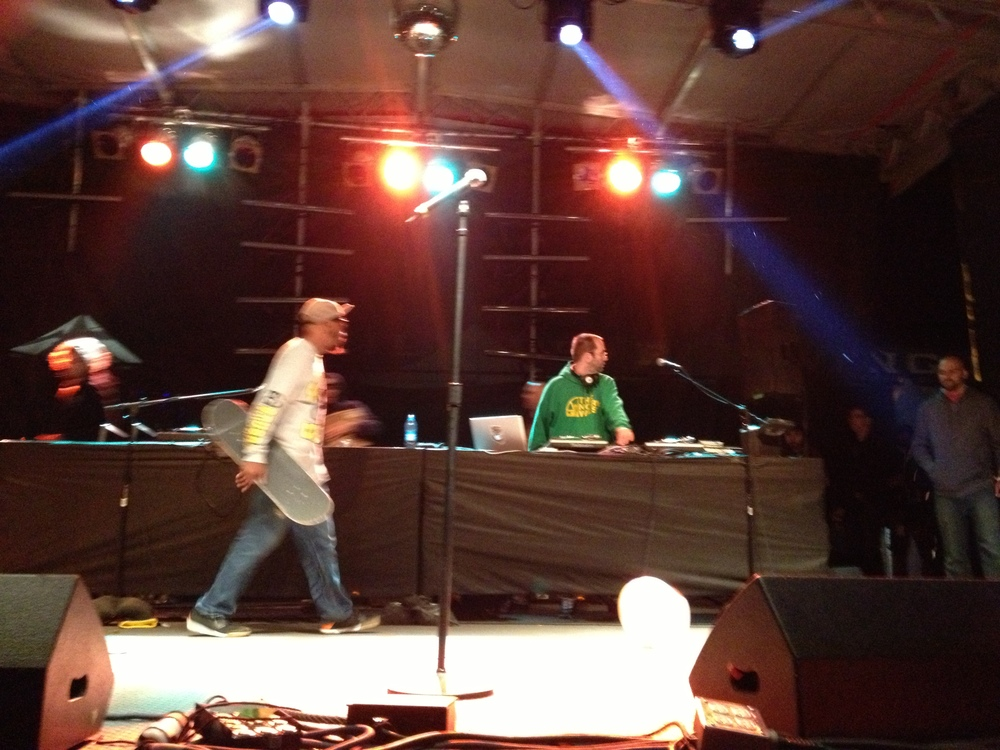Horrible photography I know... but this is proof of Del on stage with his skateboard. Rifflandia 2014