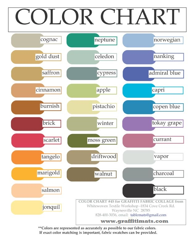 Color chart graffitimats Shades of orange colour chart