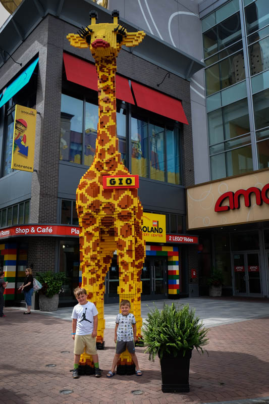 One other big adventure we went on last summer was to Lego Land.  Look how tall you are now.  Your legs are almost as long as that giraffes.  Well, not really but you are catching up to Liam. You guys loved it here, Nana, not so much.  LOL  .