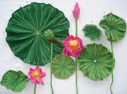 Ruth Marshall,Lotus, 2013. Knitted, crocheted, and embroidered yarn, wire, fabric stiffener, fiber, and pins. Photo by the artist.