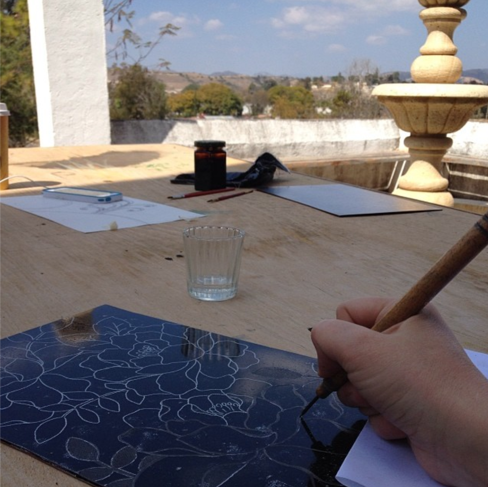 Enjoying the view while I work on my first etching.