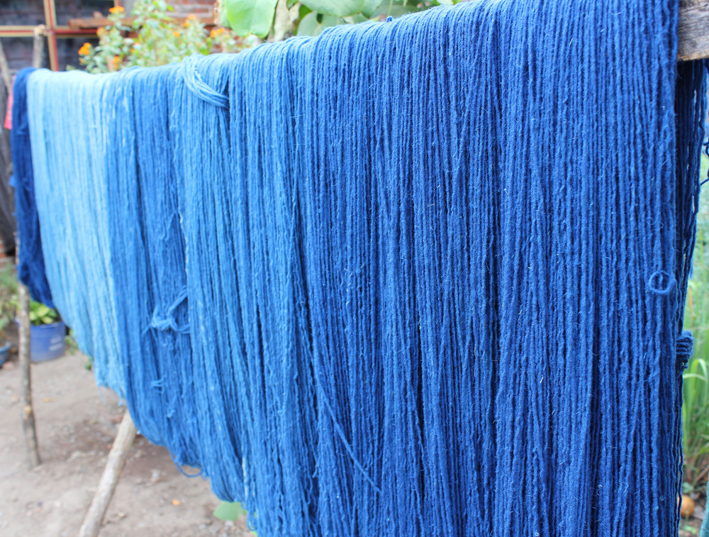 Oaxaca: freshly dyed indigo yarn drying