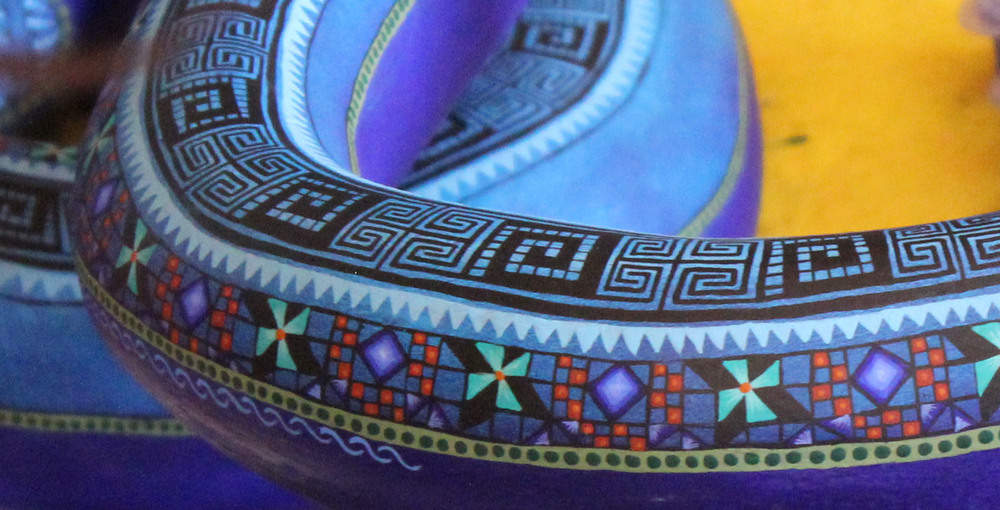 closeup of a painted Alebrijes: Oaxaca